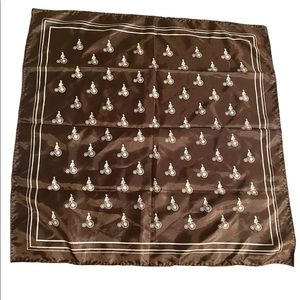 Vintage Scarf Carré 90 Bicycle Riders Brown White Hipster Rockabilly